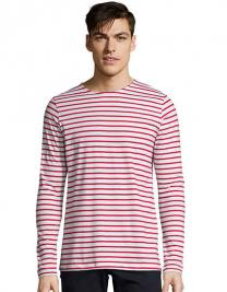 96c80f255da827 Men`s Long Sleeve Striped T-Shirt Marine