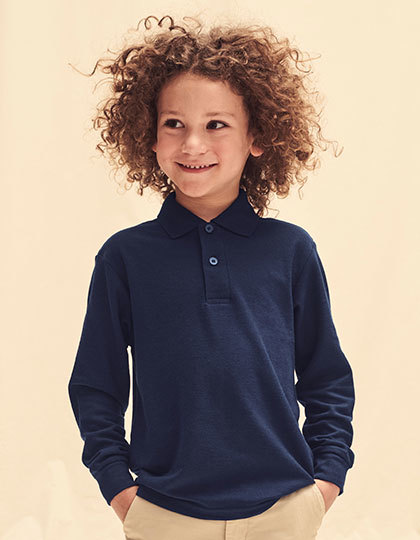 Childrens Polo Shirts Fruit Of The Loom Childrens Long Sleeve 65//35 Pique Polo